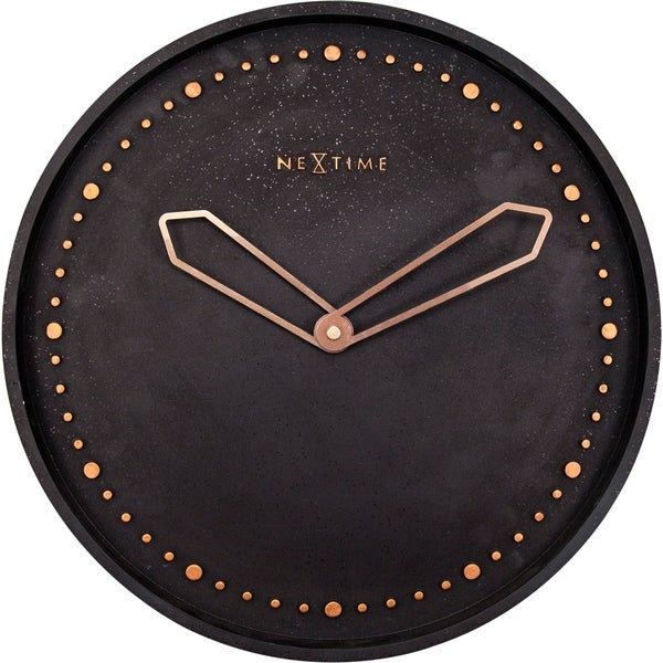 Unek Goods NeXtime Cross Wall Clock, Round, Poly Resin, Black, Battery Operated