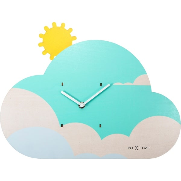 Unek Goods NeXtime Cloudy Glow In the Dark Wall Clock, Wood, Battery Operated