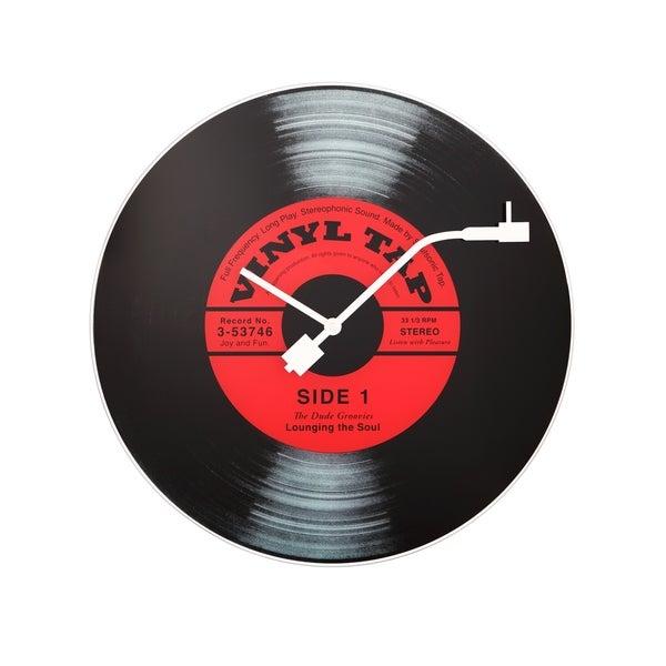 Unek Goods Nextime Vinyl Tap Wall Clock, Vinyl Album Face, Round, Battery Operated