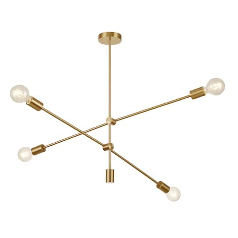 Pasargad Home Modern Gold Sputnik Chandelier 4 Lights Brass Plating