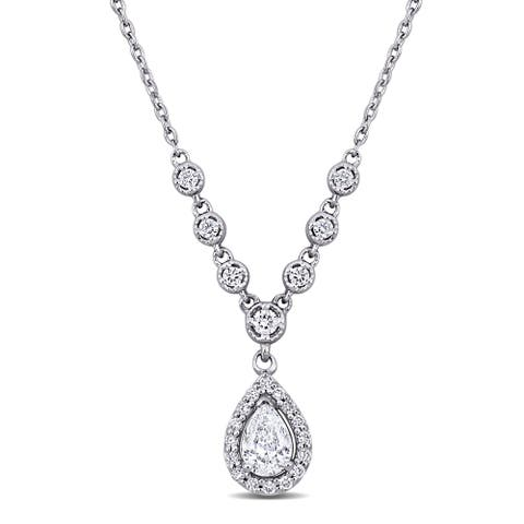 Miadora 18k White Gold 1/2ct TDW Pear and Round-cut Diamond Teardrop Halo Station Y Necklace