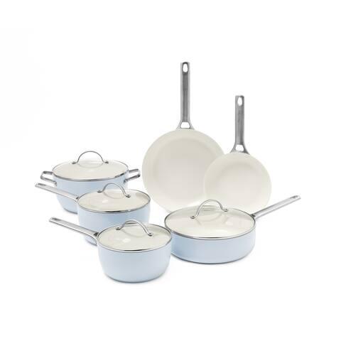 Padova Ceramic Non-Stick 10-Piece Cookware Set, Light Blue