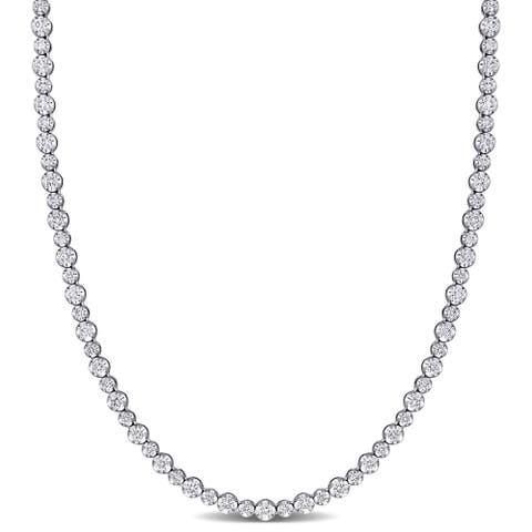 Miadora 14k White Gold 6 3/4ct TDW Diamond Graduated Tennis Necklace