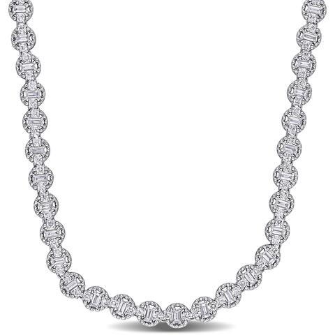 Miadora 18k White Gold 4 1/3ct TDW Baguette & Round-cut Diamond Link Tennis Necklace