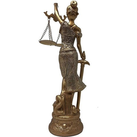 "Golden Lady Justice Statue for Home & Office Use - Accented Base with 4 Crystals - 12"" Perfect for Home Decoration"