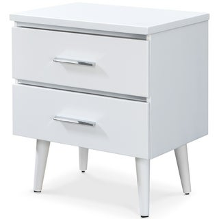 Adore Decor Lennox 2 Drawer Nightstand, White