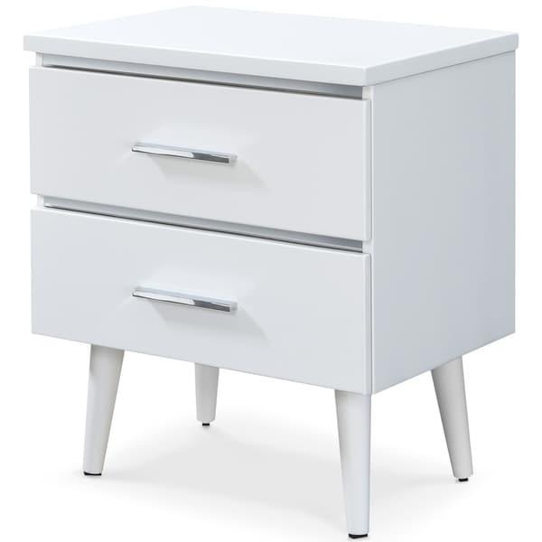 Adore Decor Lennox 2 Drawer Nightstand, White