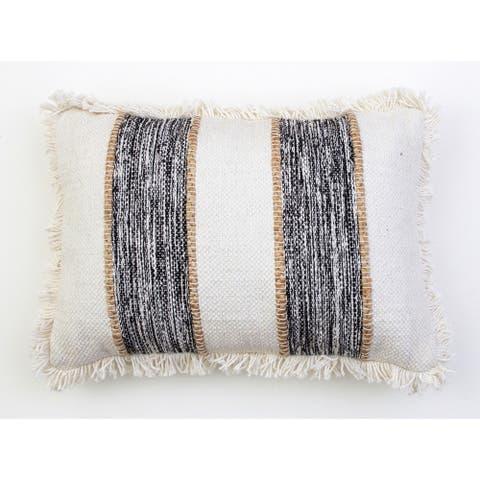 The Curated Nomad Torina 14x20-inch Jute Rope Fringe Trim Pillow