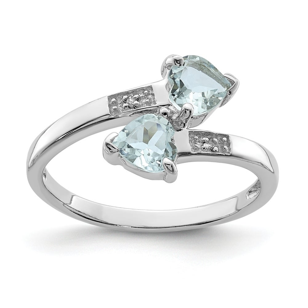 Sterling Silver Rhodium Plated Dia /& Aquamarine Heart Pendant