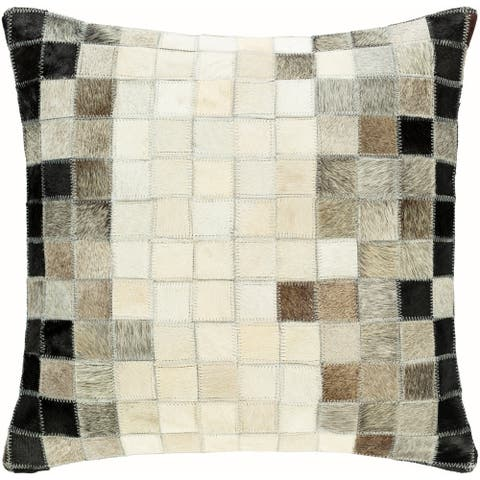 Holcomb Hair-on-Hide Ombre Patchwork 18-inch Throw Pillow