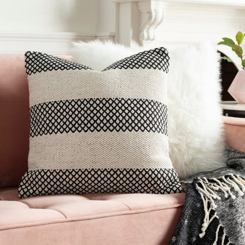 Renna Farmhouse Black Striped 20-inch Throw Pillow