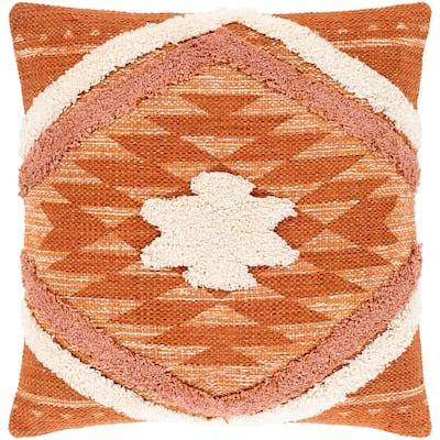 Katherine Orange & Cream Boho Shag Throw Pillow