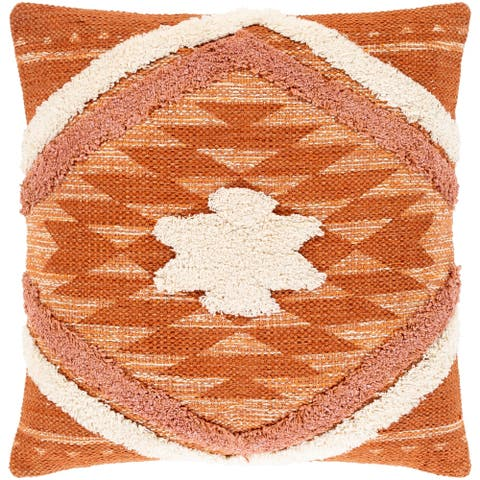 Katherine Orange & Cream Boho Shag Throw Pillow