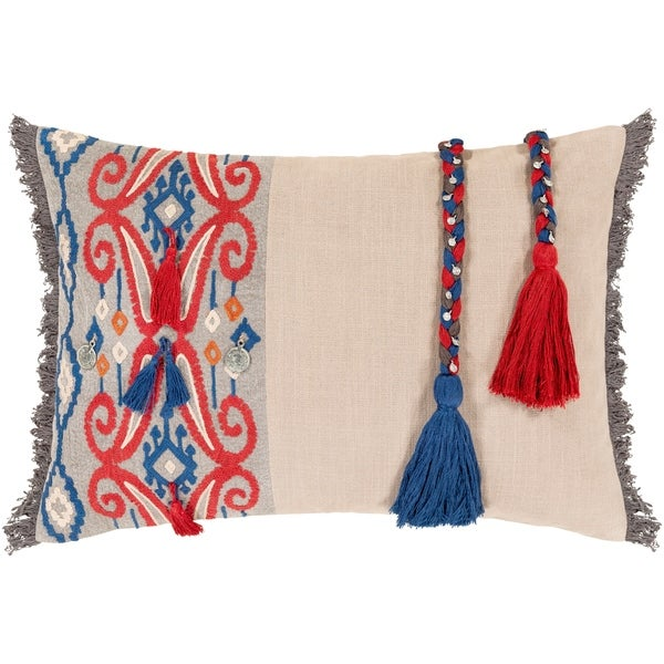 Wallie Embroidered Tribal 14x20-inch Lumbar Throw Pillow