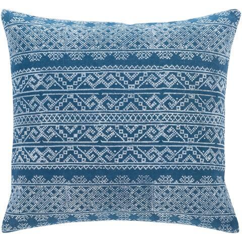 Zeba Block Print Blue Bohemian 22-inch Throw Pillow