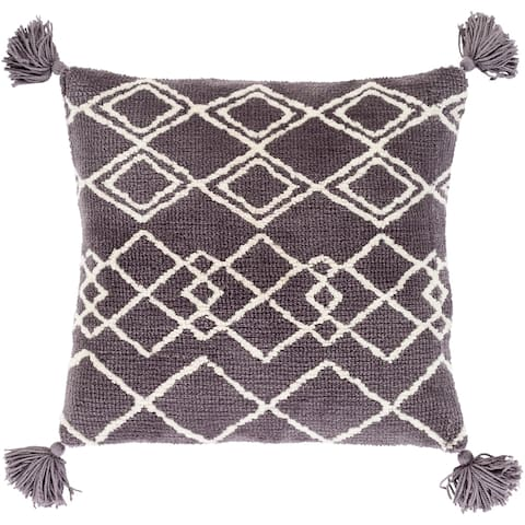Almohada Grey Bohemian Tassel Pillow