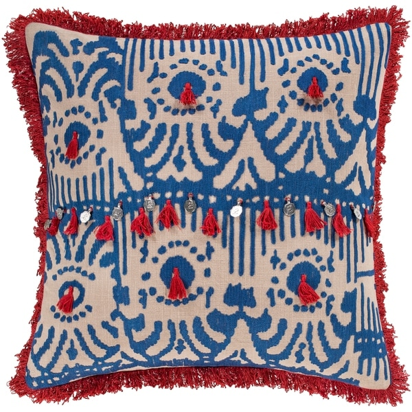 Wallie Embroidered Ikat Red and Blue Throw Pillow