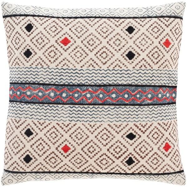 Zillah Ivory Block Print 20-inch Throw Pillow