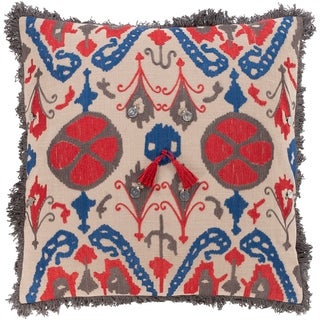 Wallie Embroidered Tribal Red and Blue Throw Pillow