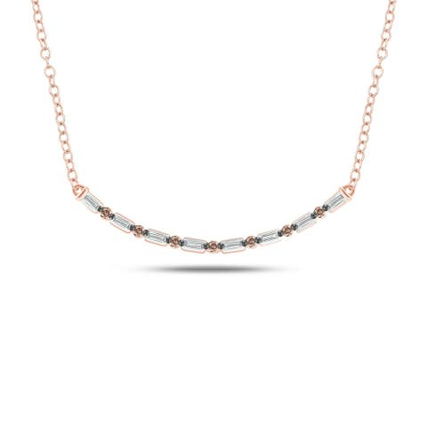 Cali Trove Celina Collection 14K Rose Gold 1/6ct TDW Round Champagne White Baguette Diamond Fashion Necklace