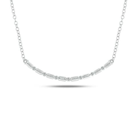 Cali Trove Celina Collection 14K White Yellow Rose Gold 1/6ct TDW Round Baguette White Diamond Fashion Necklace