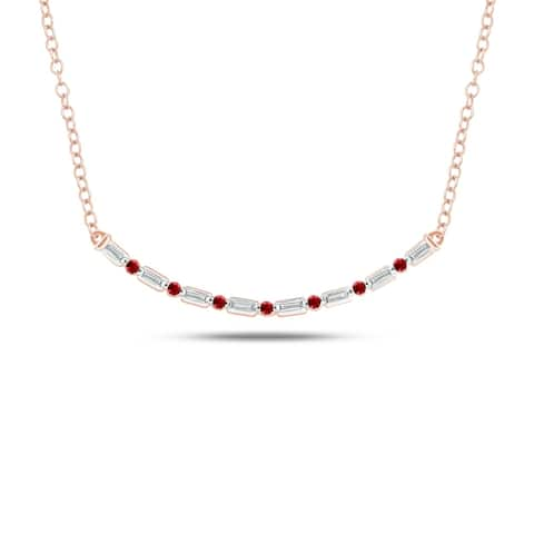 Cali Trove Celina Collection 14K Rose Gold 1/10ct TDW Baguette White Diamond Round Red Ruby Fashion Necklace