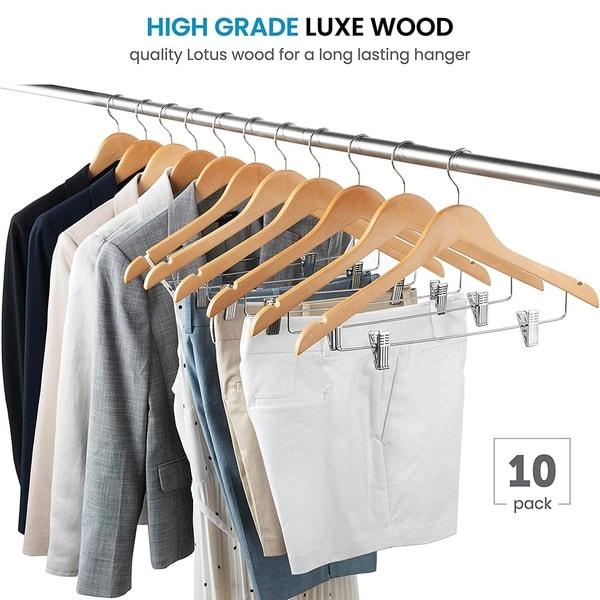 High-Grade Wooden Pants Hangers with Metal Clips Solid Wood Skirt Hanger 10 Pack