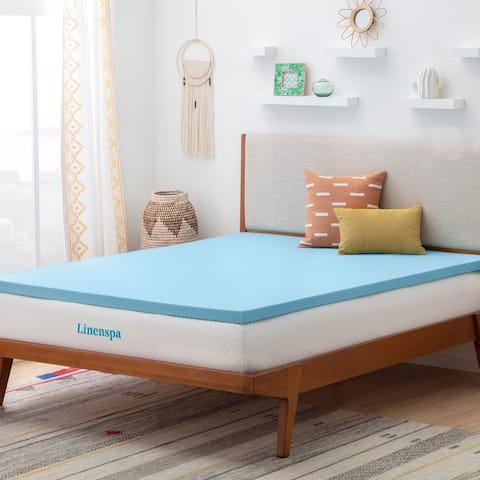 "Linenspa Essentials 2"" Fast Response Gel Memory Foam Mattress Topper - Blue"