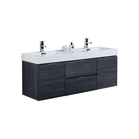 """Bliss 60"""" Gray Oak Wall Mount Double Sink Modern Bathroom Vanity"""