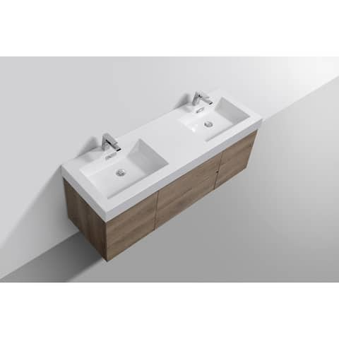 Bliss Butternut Wall Mount Double Sink Bathroom Vanity