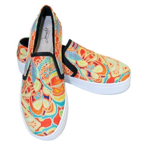 JehanArt Women's Yellow Slip-On Comfortable Sneakers Flat Shoes