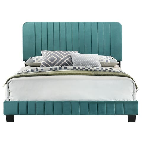 Lodi Bed with Tufted Velvet Upholstery