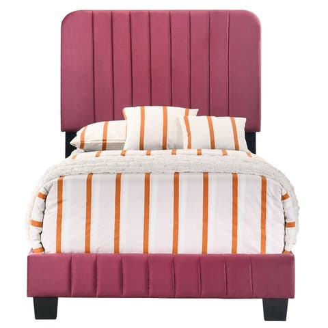 Glory Furniture Lodi Bed with Tufted Velvet Upholstery