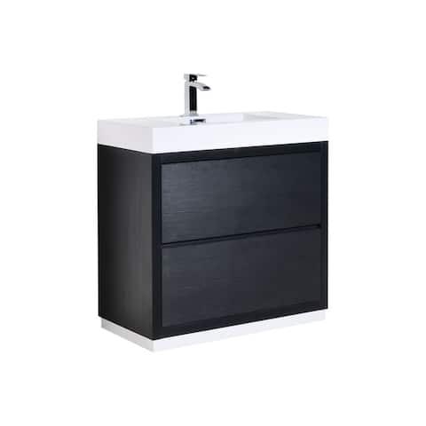 """Bliss 36"""" Black Free Standing Modern Bathroom Vanity"""