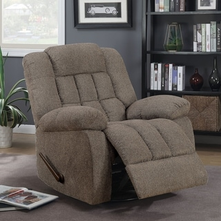 Furniture of America Bertrand Transitional Warm Gray Chenille Gliding Recliner