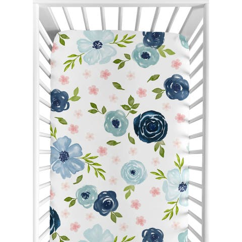 Navy Blue and Pink Watercolor Floral Girl Fitted Crib Sheet - Blush, Green and White Shabby Chic Rose Flower