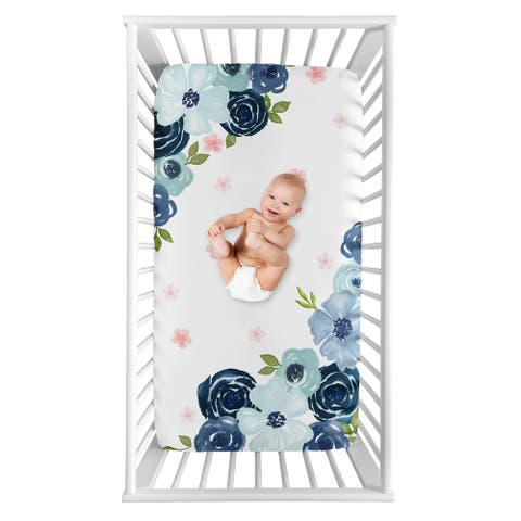 Navy Blue Pink Watercolor Floral Girl Photo Op Fitted Crib Sheet - Blush Green White Shabby Chic Rose Flower