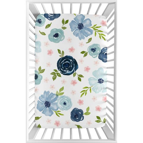 Navy Blue and Pink Watercolor Floral Baby Girl Fitted Mini Crib Sheet - Blush Green White Shabby Chic Flower