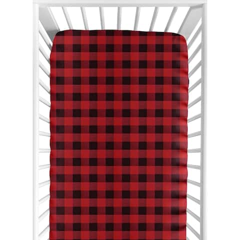 Woodland Buffalo Plaid Collection Boy Fitted Crib Sheet - Red and Black Rustic Country Lumberjack