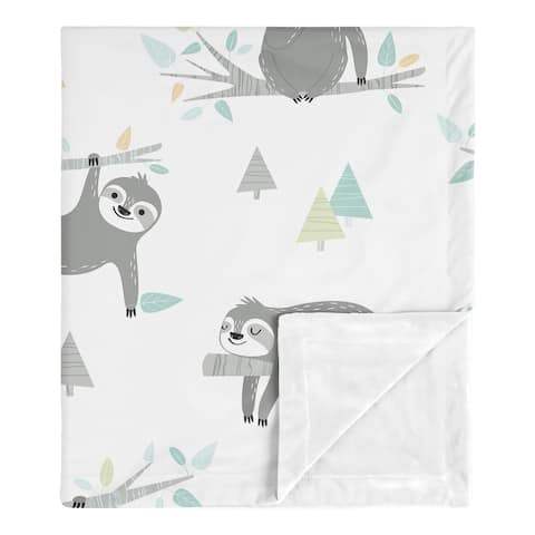 Blue Sloth Boy Girl Baby Receiving Security Swaddle Blanket - Turquoise Grey Green Jungle Botanical Leaf