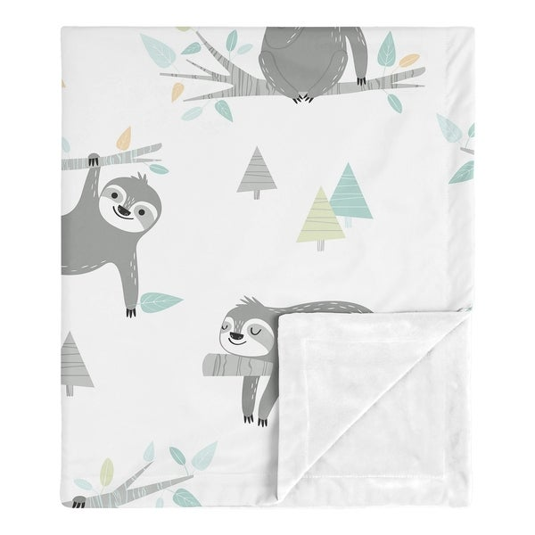 Blue Sloth Boy Girl Baby Receiving Security Swaddle Blanket - Turquoise Grey Green Jungle Botanical Leaf. Opens flyout.