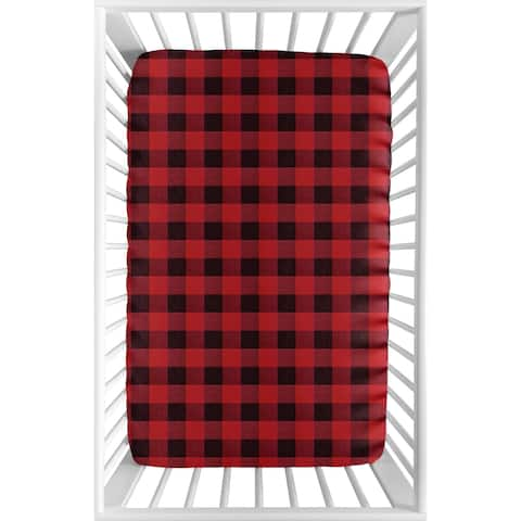 Woodland Buffalo Plaid Collection Baby Boy Fitted Mini Portable Crib Sheet - Red and Black Rustic Country Lumberjack