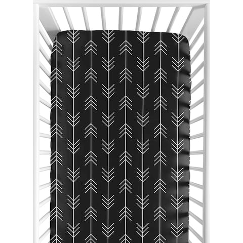 Woodland Arrow Collection Boy Fitted Crib Sheet - Black and White Rustic Country Lumberjack