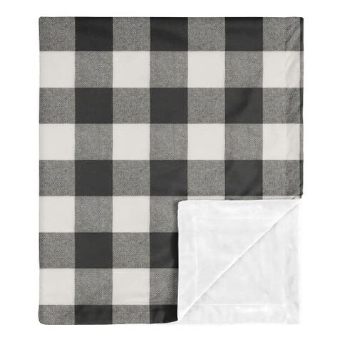 Buffalo Plaid Collection Boy or Girl Baby Receiving Security Swaddle Blanket - Black and White Check Rustic Woodland Flannel