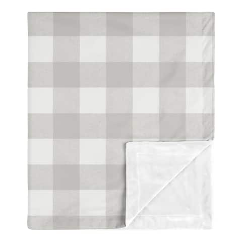 Grey Plaid Baby Receiving Security Swaddle Blanket - Rustic Woodland Buffalo Check Flannel Country Lumberjack