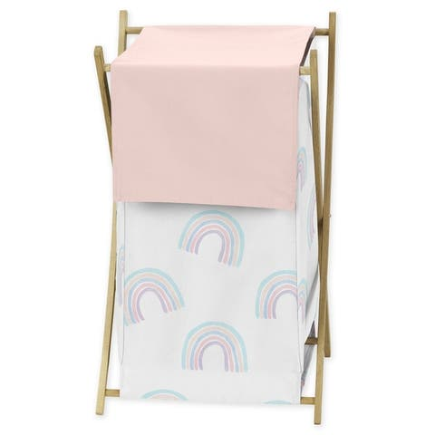 Pastel Rainbow Collection Laundry Hamper - Blush Pink, Purple, Teal, Blue and White