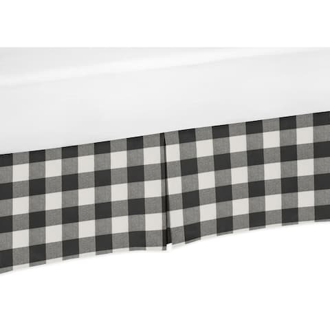Buffalo Plaid Collection Boy or Girl Crib Bed Skirt - Black and White Check Rustic Woodland Flannel