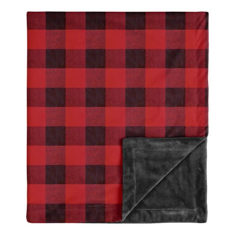 Woodland Buffalo Plaid Collection Boy Baby Receiving Security Swaddle Blanket - Red and Black Rustic Country Lumberjack