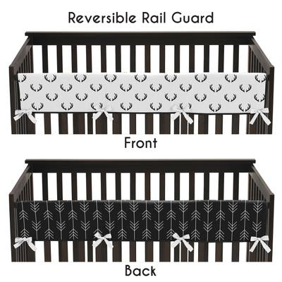 Woodland Deer and Arrow Collection Boy Long Crib Rail Guard Cover - Black and White Rustic Country Lumberjack