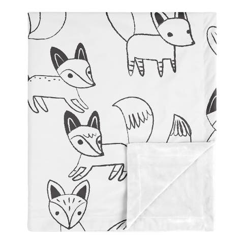 Fox Collection Boy or Girl Baby Receiving Security Swaddle Blanket - Black and White